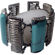 "Selro Selini Mid-Century Turquoise Thermoset 2.25"" Wide Bracelet"