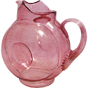 "Victorian Iridescent Cranberry Hand Blown Art Glass Pitcher, 8.25"" Tall"