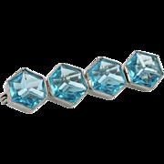 SALE PENDING Art Deco Aquamarine Glass Hexagon Bar Brooch