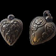 SALE Antique Art Nouveau Puffy Heart Sterling Silver Charm, Floral