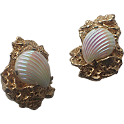 Castlecliff 1960s Art Glass Shell and Coral Earrings