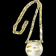 SALE Castlecliff Fish Bowl Clear Lucite Pendant Necklace, Book Piece