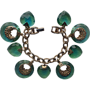 SALE Warner 1960's Blue Green Givre Glass Heart Charm Bracelet