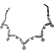 SALE Art Deco Germany Signed Sterling Crystal Necklace