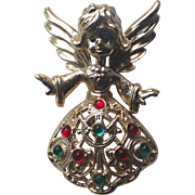Tancer II Angel Glass Cabochons Christmas Pin