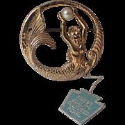 SCARCE Napier Sterling Mermaid Genuine Pearl Pin Pendant, Eugene Bertolli