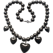 SALE Puffy Heart Sterling Silver Bead Necklace 1970s