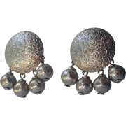 Napier Mid Century Nautilus Shell Etched Bead Drop Earrings