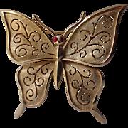 SALE Trifari 1960's Butterfly Glass Cab Eyes Brooch