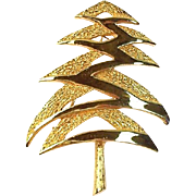 SALE Mylu 1968 Modernist Christmas Tree Pin, Book Piece