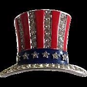 SALE RARE Trifari 1940's Uncle Sam Hat Patriotic Pin, Book Piece