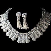 Coro Mid Century Cleopatra Collar Necklace, Drop Earrings, PRISTINE
