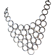Vendome Mid Century 1960s Silver Plated Ring Bib Necklace