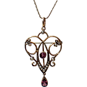 Art Nouveau 1890 French Signed 14K Gold Amethyst Seed Pearl Pendant, Pin with Chain