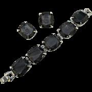REDUCED Kramer of New York HUGE Smokey Grey Glass & Rhinestone Bracelet & Earrings ~ .