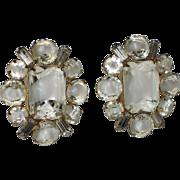 REDUCED Hattie Carnegie Clear-White Givre Glass & Rhinestone Baguette Earrings