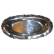 Antique L.A. Littlefield Quadruple Silverplate Grapevine Oval Tray