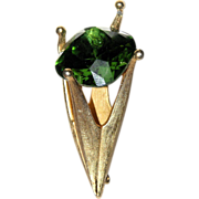SALE Corocraft 3D Green Stone Crown-Torch Brooch