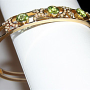 SALE SCARCE Art Nouveau 14K Gold, Peridot and Seed Pearl Bangle Bracelet