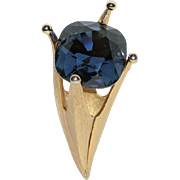 SALE Corocraft 3D Sapphire Blue Stone Crown-Torch Brooch