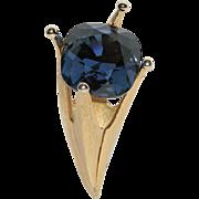SALE Corocraft 3D Sapphire Blue Stone Crown-Torch Brooch