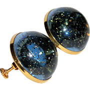 Vendome 1960's Smokey Grey-Blue & Gold Glitter Lucite Dome Earrings
