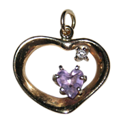 REDUCED Vintage 14K Gold Heart ~ Amethyst & Diamond Pendant