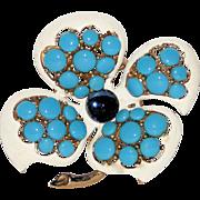 Trifari 1960's Mod Flower Brooch ~ Glass & Enamel