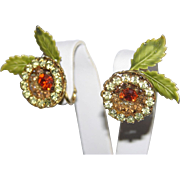 Vendome 1950's Floral Rhinestone & Enamel 3D Earrings