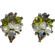 Vendome 1960's Crystal, Baroque Pearl & Rhinestone Earrings