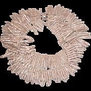 REDUCED Biwa Stick Genuine Pearl Necklace with Art Deco Rhinestone Clasp