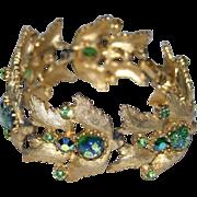REDUCED RARE Judy Lee 1958 Green Foiled Art Glass Bracelet, Book Piece