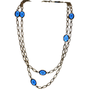 REDUCED Corocraft Blue Glass Bezel Set Sautoir Necklace ~ 52""