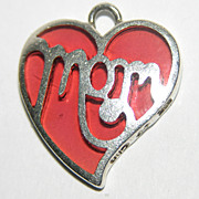 SALE Jezlaine Signed Poured Glass Sterling MOM Heart Charm/Pendant