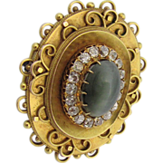 REDUCED Antique Victorian 1840's 14K Gold, Green Chrysoberyl Cat's Eye & Old Mine Diamonds