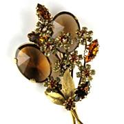 REDUCED Vendome 1950's Glass & Rhinestone Floral Spray Brooch