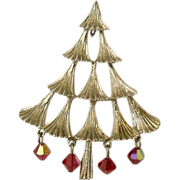 SALE Mylu 1960's Crystal Drop Tiered Christmas Tree Pin ~ Book Piece
