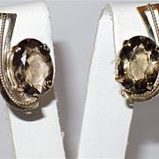SALE Topaz Faceted Glass & 12K Gold Filled Earrings ~ Vintage 1960s