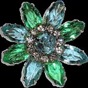 SALE Daisy Flower Aqua Blue & Spring Green Glass & Rhinestones Brooch