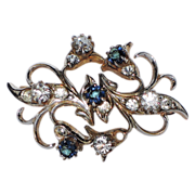 REDUCED Early 1950's Victorian Revival Sapphire-Clear Rhinestone Pin