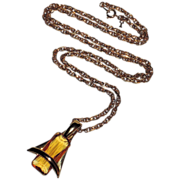 REDUCED Trifari Modernist 1970's Citrine Glass Pendant Necklace ~ MINT