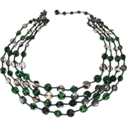 SALE PENDING Vendome 1960's 4-Strand Green Swarovski Nail Head Crystal Necklace