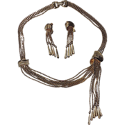 SALE PENDING Vendome 1960's Modernist Asymmetrical Gold Plated Tassel Necklace & Earring Set