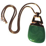 Trifari 70s Lanvin-style Jade Green Lucite Pendant Necklace, Book Piece