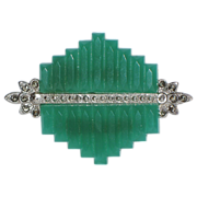 REDUCED Art Deco Chrysoprase Step Cut Skyscraper and Marcasite Brooch