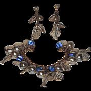 REDUCED Accessocraft N.Y.C. 1960's Shell & Fish Charm Bracelet & Earrings
