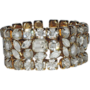 SALE Hattie Carnegie Clear-White Givre Glass Bracelet