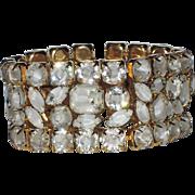 SALE Hattie Carnegie Clear-White Givre Glass Bracelet
