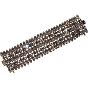 "REDUCED Schreiner of New York Clear Rhinestone Bracelet, 1 5/8"" Wide"