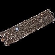 """REDUCED Schreiner of New York Clear Rhinestone Bracelet, 1 5/8"""" Wide"""